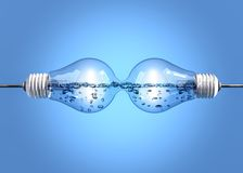 Light bulbs with liquid Royalty Free Stock Images