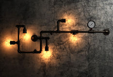 Light bulbs and metal pipes on the old cement wall. Represent industrial atmosphere Stock Photography