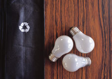 Light Bulbs Mimic Recycling Triangle Royalty Free Stock Photos