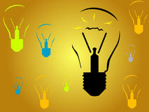 Light Bulbs - New Ideas. Some light bulbs but only one lighting Royalty Free Stock Image