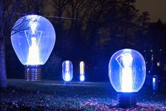 Light-bulbs at night. In blue vibrant colours at the light festival in Eindhoven, Netherlands Stock Photo