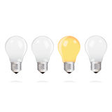 Light bulbs with one bright light bulb on white background Stock Images