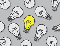 Light Bulbs One On. Light bulbs off except one royalty free illustration