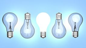Light bulbs over blue background Stock Images