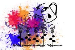 Light bulbs on paint splashes Royalty Free Stock Image