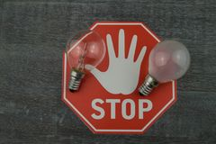 Light bulbs prohibited stock photos
