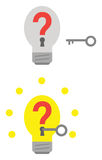 Light bulbs with question marks and keyholes and key unlocking Stock Photos
