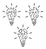 Light bulbs from quotes Stock Photo