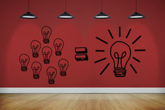 Light bulbs on red wall Royalty Free Stock Image