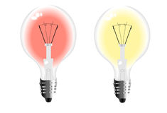 Light bulbs with red and yellow Royalty Free Stock Image