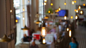 Light bulbs in the restaurant stock video footage