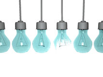 Light bulbs in row, isolated. Stock Photo
