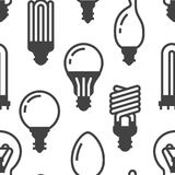 Light bulbs seamless pattern with flat glyph icons. Led lamps types, fluorescent, filament, halogen, diode and other. Illumination. Modern black white Stock Photo