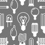 Light bulbs seamless pattern with flat glyph icons. Led lamps types, fluorescent, filament, halogen, diode and other. Illumination. Modern grey white background Royalty Free Stock Photography
