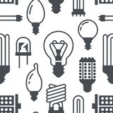 Light bulbs seamless pattern with flat glyph icons. Led lamps types, fluorescent, filament, halogen, diode and other. Illumination. Modern grey white background Royalty Free Stock Photo