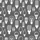 Light bulbs seamless pattern with flat glyph icons. Led lamps types, fluorescent, filament, halogen, diode and other. Illumination. Modern black white Royalty Free Stock Image