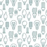 Light bulbs seamless pattern with flat line icons. Led lamps types, fluorescent, filament, halogen, diode and other. Illumination. Modern background with linear Stock Image