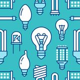 Light bulbs seamless pattern with flat line icons. Led lamps types, fluorescent, filament, halogen, diode and other. Illumination. Modern dark blue background Stock Image
