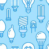 Light bulbs seamless pattern with flat line icons. Led lamps types, fluorescent, filament, halogen, diode and other. Illumination. Modern dark blue background Stock Images