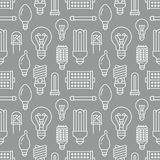 Light bulbs seamless pattern with flat line icons. Led lamps types, fluorescent, filament, halogen, diode and other. Illumination. Modern gray white background Royalty Free Stock Photography