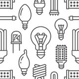 Light bulbs seamless pattern with flat line icons. Led lamps types, fluorescent, filament, halogen, diode and other. Illumination. Modern black white background Stock Photo