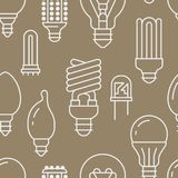 Light bulbs seamless pattern with flat line icons. Led lamps types, fluorescent, filament, halogen, diode and other. Illumination. Modern beige background with Stock Image