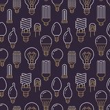 Light bulbs seamless pattern with flat line icons. Led lamps types, fluorescent, filament, halogen, diode and other stock photo