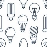 Light bulbs seamless pattern with flat line icons. Led lamps types, fluorescent, filament, halogen, diode and other. Illumination. Modern background with linear Royalty Free Stock Image