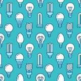 Light bulbs seamless pattern with flat line icons. Led lamps types, fluorescent, filament, halogen, diode and other. Illumination. Modern blue background with Stock Photos