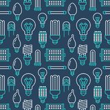 Light bulbs seamless pattern with flat line icons. Led lamps types, fluorescent, filament, halogen, diode and other. Illumination. Modern dark blue background Royalty Free Stock Photos