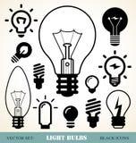 Light bulbs set. Set of light bulbs icons Stock Photos
