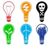 Light bulbs. Set of six different light bulbs Stock Images