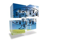 Light bulbs in speech bubble on abstract screen Stock Image