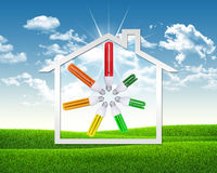 Light bulbs and symbol of house Stock Photo