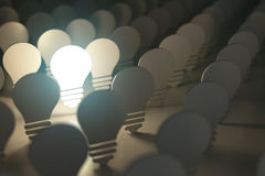 Light bulbs symbols with glowing one. Idea or difference concept. Background. 3d illustration Stock Photos