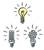 Light bulbs, Tungsten bulb, energy saving bulb,. Set of Hand drawn, cartoon light bulbs, orange old generation bulb, Tungsten bulb, and white energy saving bulb Stock Photography