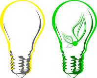 Light bulbs in two interpretation Stock Images