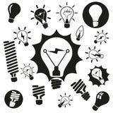Light bulbs. Bulb icon set Stock Photos