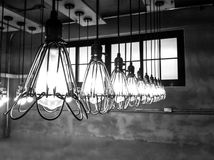 Light bulbs on vintage gray background retro Royalty Free Stock Photo