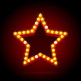 Light Bulbs Vintage Neon Glow Star Shape. Vector. Light Bulbs Vintage Neon Glow Star Shape on Dark Red Background Can Be Used for Cinema, Casino, Show or Cafe Royalty Free Stock Photos