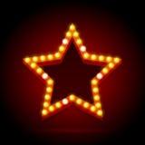 Light Bulbs Vintage Neon Glow Star Shape. Vector Royalty Free Stock Photos