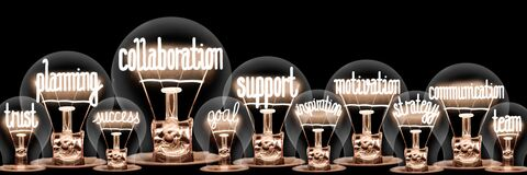 Free Light Bulbs With Collaboration Concept Stock Image - 213129191