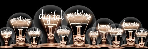 Free Light Bulbs With Digital Marketing Concept Stock Image - 166733191