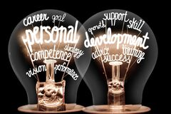 Free Light Bulbs With Personal Development Concept Stock Photos - 204105703