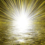Light burst and water reflection royalty free stock photography