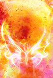 Light Butterfly In Cosmic Space And Fire Flame. Color Cosmic Abstract Background.