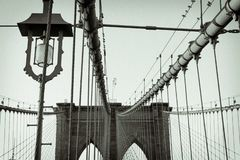 Light and Cables on Brooklyn Bridge royalty free stock image