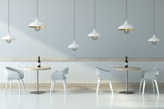 Light cafe interior. With furniture and ceiling lamps. Lifestyle and design concept. 3D Rendering Stock Photos