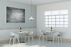 Light cafe interior. Side view of light cafe interior with empty chalkboard on wall. Advertising concept. Mock up, 3D Rendering Royalty Free Stock Photo