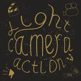 Light, Camera, Action! Lettering. Royalty Free Stock Photography